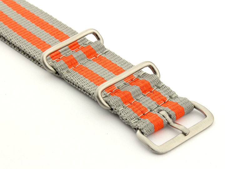 Nato Watch Strap Nylon G10 Grey/Orange (5B) 03