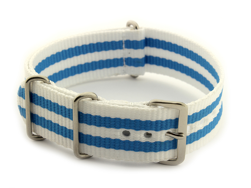 Nato Watch Strap Nylon G10 White/Blue (5) 01