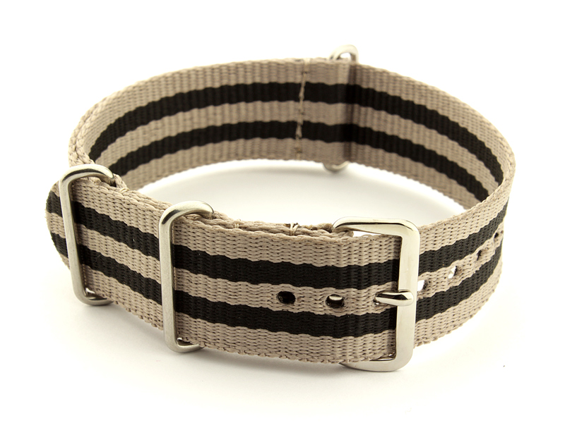 Nato Watch Strap Nylon G10 Beige/Black (5) 01