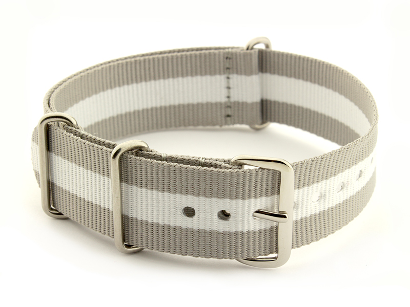Nato Watch Strap Nylon G10 Grey/White (3) 01