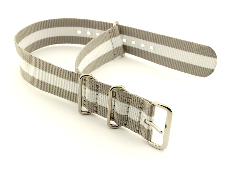 Nato Watch Strap Nylon G10 Grey/White (3) 02