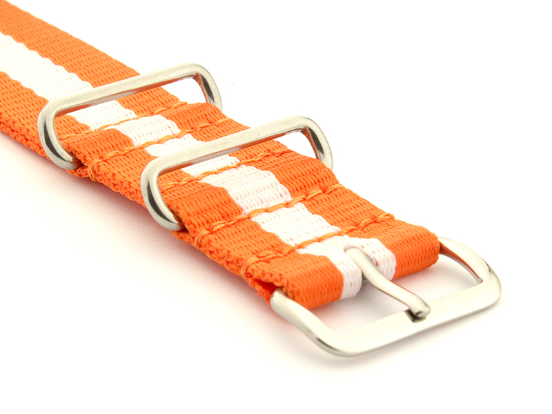 Nato Watch Strap Nylon G10 Orange/White (3) 03