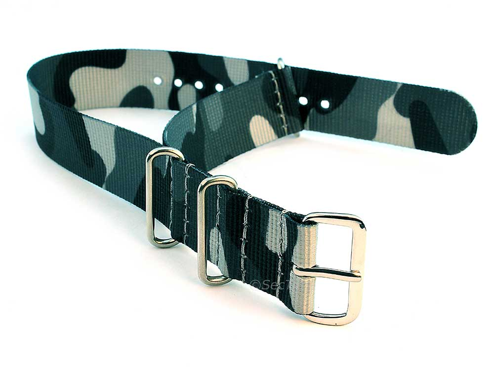 Nato Watch Strap G10 Military Nylon Divers Camouflage Grey 22mm