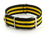 Nato Watch Strap G10 Military Nylon Divers Black/Yellow (5) 24mm