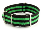 Nato Watch Strap G10 Military Nylon Divers Black/Green (5) 24mm