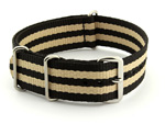 Nato Watch Strap G10 Military Nylon Divers Black/Beige (5) 24mm