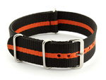 Nato Watch Strap G10 Military Nylon Divers Black/Orange (3) 22mm