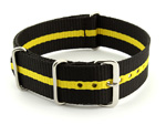 Nato Watch Strap G10 Military Nylon Divers Black/Yellow (3) 24mm