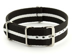 Nato Watch Strap G10 Military Nylon Divers Black/White (3) 24mm