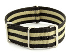 Nato Watch Strap G10 Military Nylon Divers Black/Beige (5B) 20mm