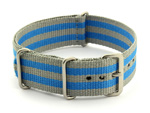 Nato Watch Strap G10 Military Nylon Divers Grey/Blue (5B) 24mm