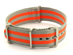 Nato Watch Strap G10 Military Nylon Divers Grey/Orange (5B) 24mm