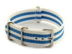 Nato Watch Strap G10 Military Nylon Divers White/Blue (5) 24mm