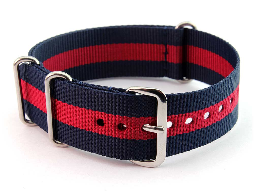 Nato Watch Strap G10 Military Nylon Divers Navy Blue/Red (3) 24mm