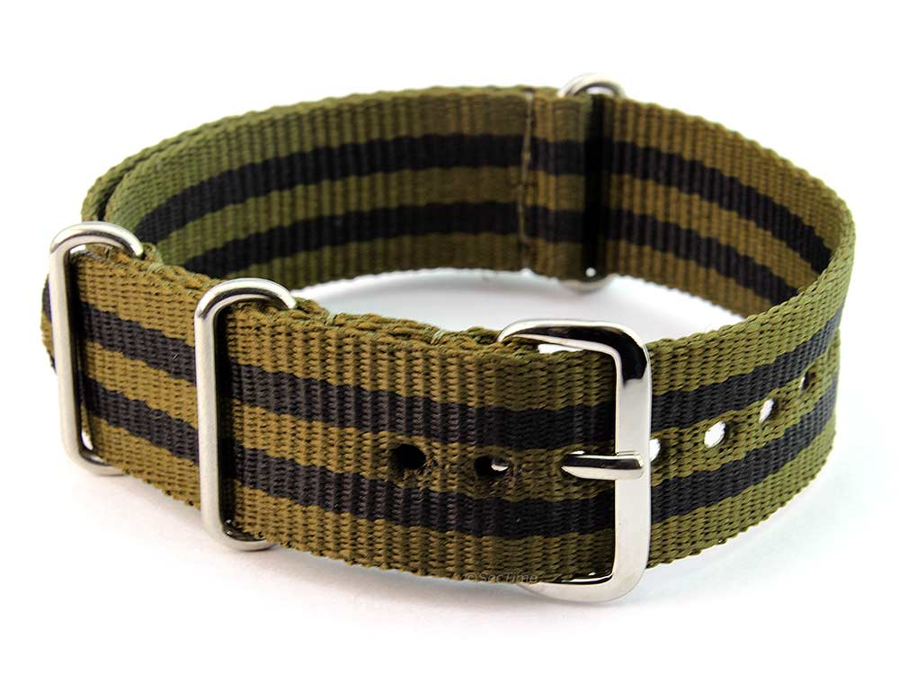 Nato Watch Strap G10 Military Nylon Divers Olive Green/Black (5) 20mm