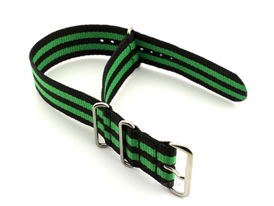 Nato Watch Strap G10 Military Nylon Divers Black/Green (5) 22mm