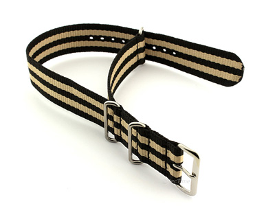 Nato Watch Strap G10 Military Nylon Divers Black/Beige (5) 22mm