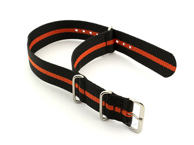 Nato Watch Strap G10 Military Nylon Divers Black/Orange (3) 18mm