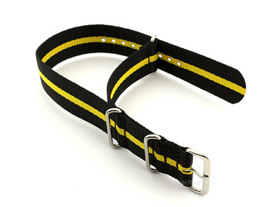 Nato Watch Strap G10 Military Nylon Divers Black/Yellow (3) 20mm