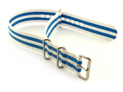 Nato Watch Strap G10 Military Nylon Divers White/Blue (5) 20mm