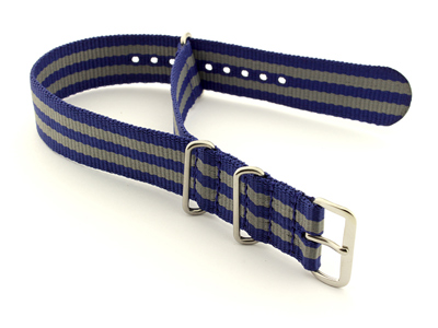 Nato Watch Strap G10 Military Nylon Divers Navy Blue/Grey (5) 18mm
