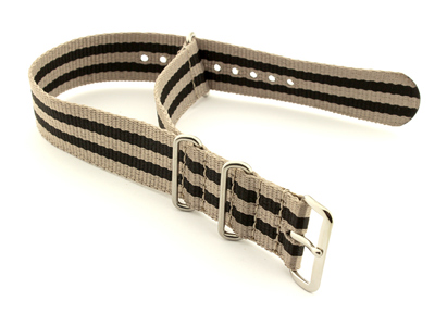 Nato Watch Strap G10 Military Nylon Divers Beige/Black (5) 22mm
