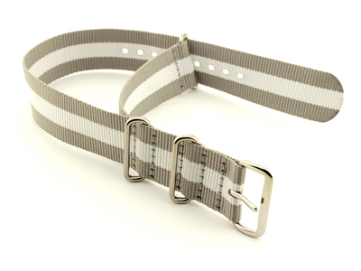 Nato Watch Strap G10 Military Nylon Divers Grey/White (3) 22mm