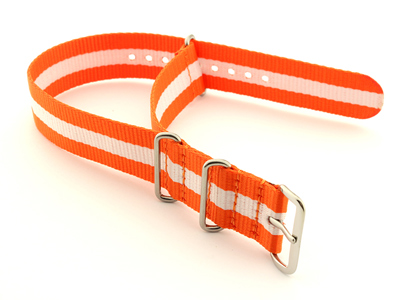 Nato Watch Strap G10 Military Nylon Divers Orange/White (3) 24mm