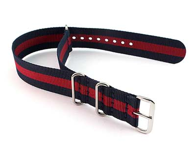 Nato Watch Strap G10 Military Nylon Divers Navy Blue/Red (3) 20mm