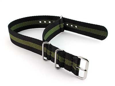Nato Watch Strap G10 Military Nylon Divers Black/Green (3) 22mm