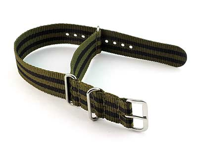 Nato Watch Strap G10 Military Nylon Divers Olive Green/Black (5) 22mm
