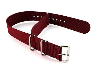 Nato Watch Strap G10 Military Nylon Divers Maroon 22mm
