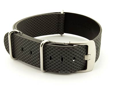 Synthetic Waterproof Nato Watch Strap Hydrophobized Leather Lining Black 01