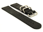 Leather Two-Piece Nato Vintage Watch Strap Black 01