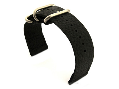 Leather Two-Piece Nato Vintage Watch Strap Black 02
