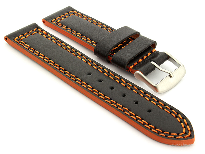 ec464e964 Leather Watch Strap Black with Orange Stitching Orion 01