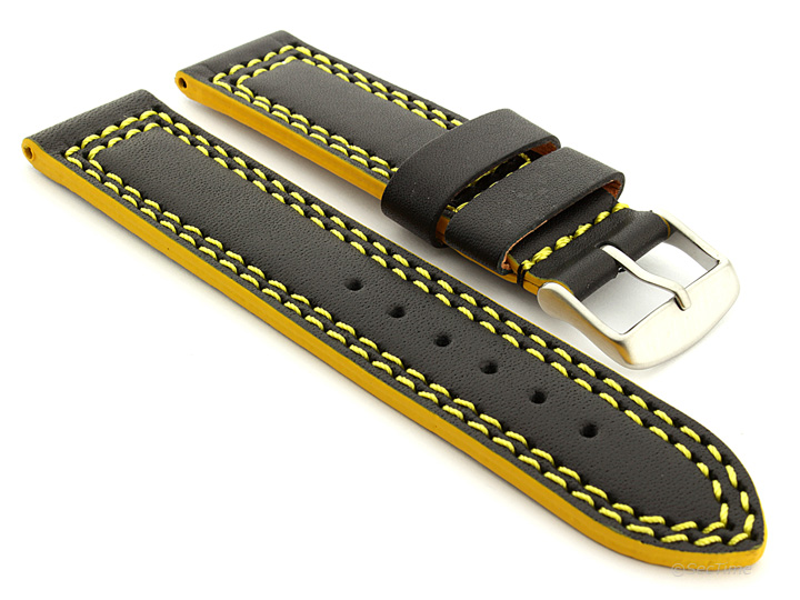Leather Watch Strap Black with Yellow Stitching Orion 01