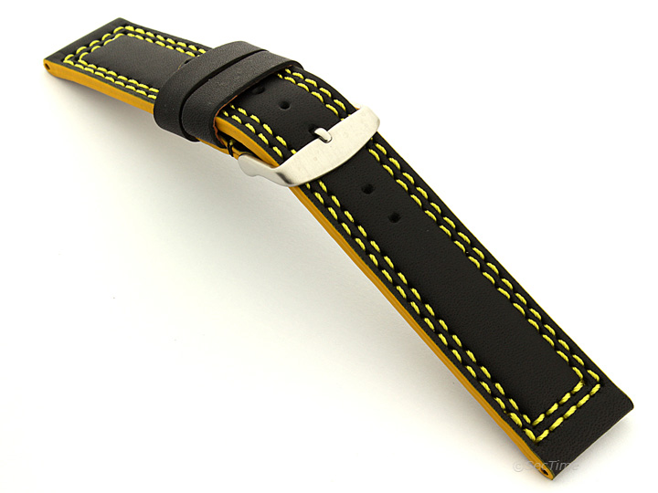 Leather Watch Strap Black with Yellow Stitching Orion 02