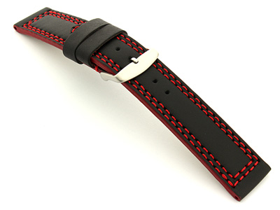 Leather Watch Strap Black with Red Stitching Orion 02
