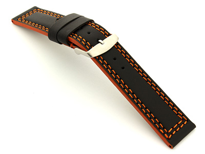 Leather Watch Strap Black with Orange Stitching Orion 02