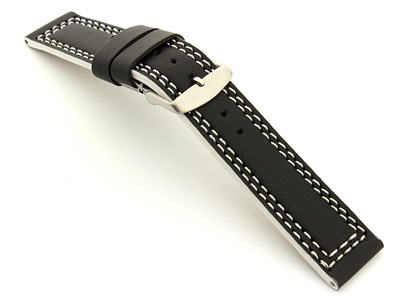 Leather Watch Strap Orion Black / White 18mm