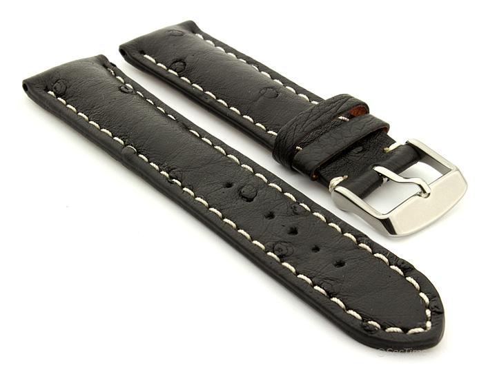Ostrich Leather Watch Strap Black Emu 01
