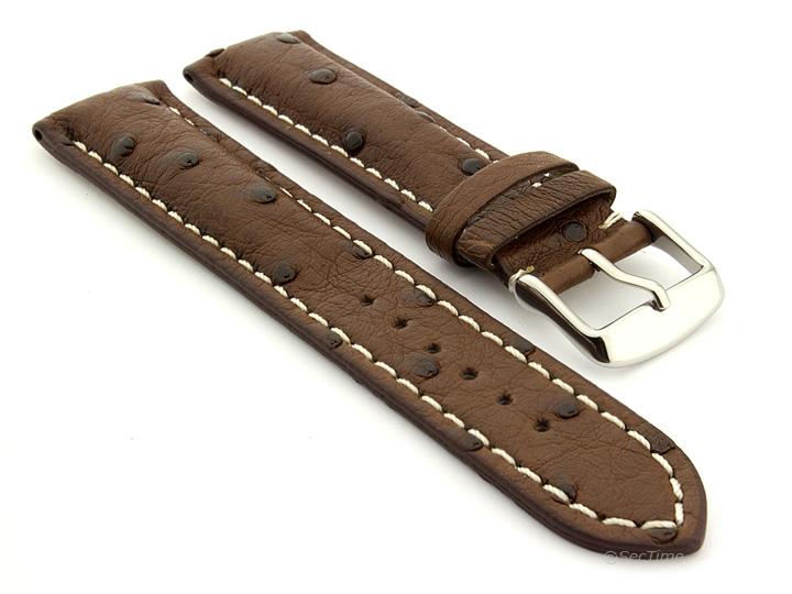 Ostrich Leather Watch Strap Dark Brown Emu 01