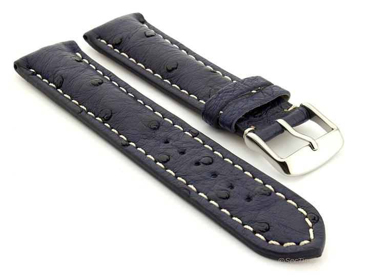 Ostrich Leather Watch Strap Navy Blue Emu 01