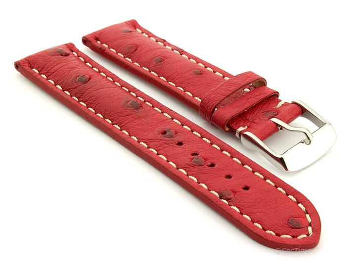 Ostrich Leather Watch Strap Red Emu 01