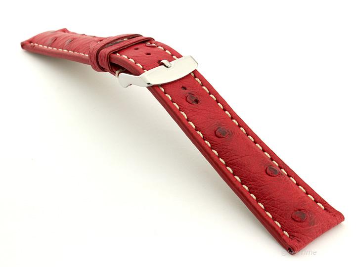 Ostrich Leather Watch Strap Red Emu 02