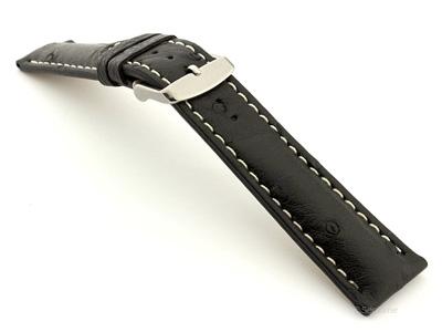 Ostrich Leather Watch Strap EMU Black 20mm