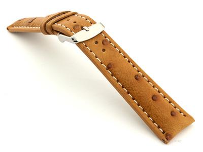 Ostrich Leather Watch Strap EMU Brown 20mm