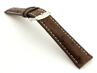 Ostrich Leather Watch Strap EMU Dark Brown 20mm
