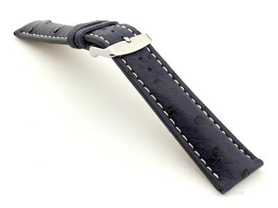 Ostrich Leather Watch Strap EMU Navy Blue 20mm